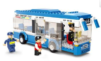 Educational new creative plastic toy bricks puzzle city bus single-deck  bus free shipping
