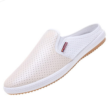 Summer Holes Men Leather Beach Flats Good Quality Spliced Shoes Eu 39-44 Soft Sole Hollow Out Man White Loafers & Sandals