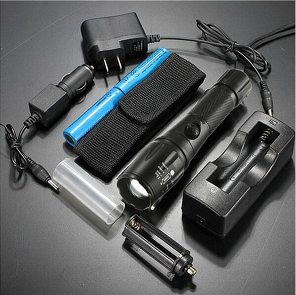 Waterproof 2000Lm CREE XML T6 LED Lamp zoomable Flashlight Torch Lamp+2x 18650 battery +AC/Car/Single Charger+Torch Bag