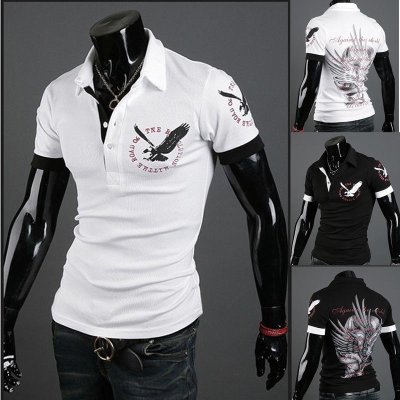 2016 NEW Arrival Men polo shirts Fashion Casual Eagle print High Quality men polos shirt short sleeve Tattoo clothing(China (Mainland))