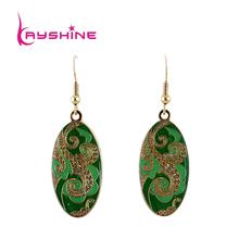 Famous Brand Jewelry Vintage Style Green Enamel  Ellipse Drop Earrings for Elegant Women(China (Mainland))