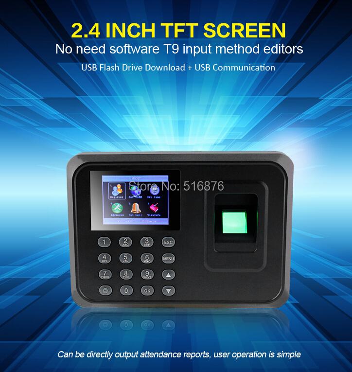Biometric Fingerprint Time Attendance Time Clock Recorder Employee Digital Electronic Attendance Machine W/ Charger Adapter(China (Mainland))