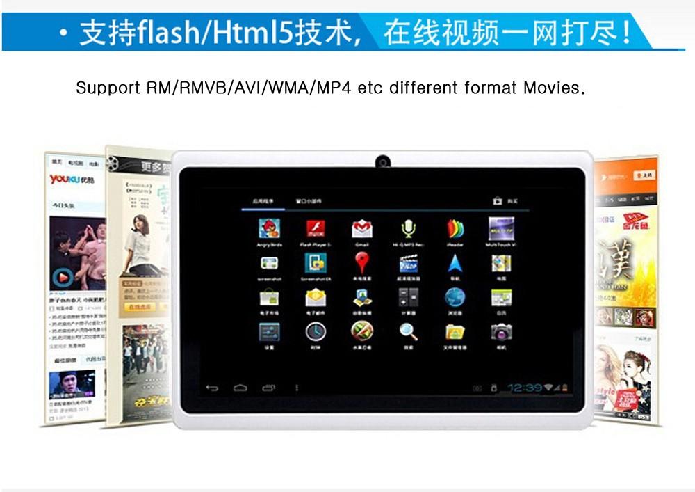 7 inch Q8 Allwinner A33 Quad Core Kids Tablet 512MB/4GB or 8GB Android 4.4.2 Kids Tablet PC Dual camera WIFI Tabs Q88