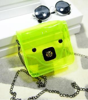 free shipping 2015 Summer new Simple atmospheric Sweet fashion phone bag transparent piggy bag Messenger chain bag purse