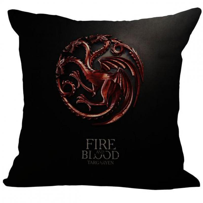 Manufacturer Supply Us Drama Game Of Thrones Printing Linen Throw Pillow Case For Chair Home Supplies 45*45 Cm(China (Mainland))