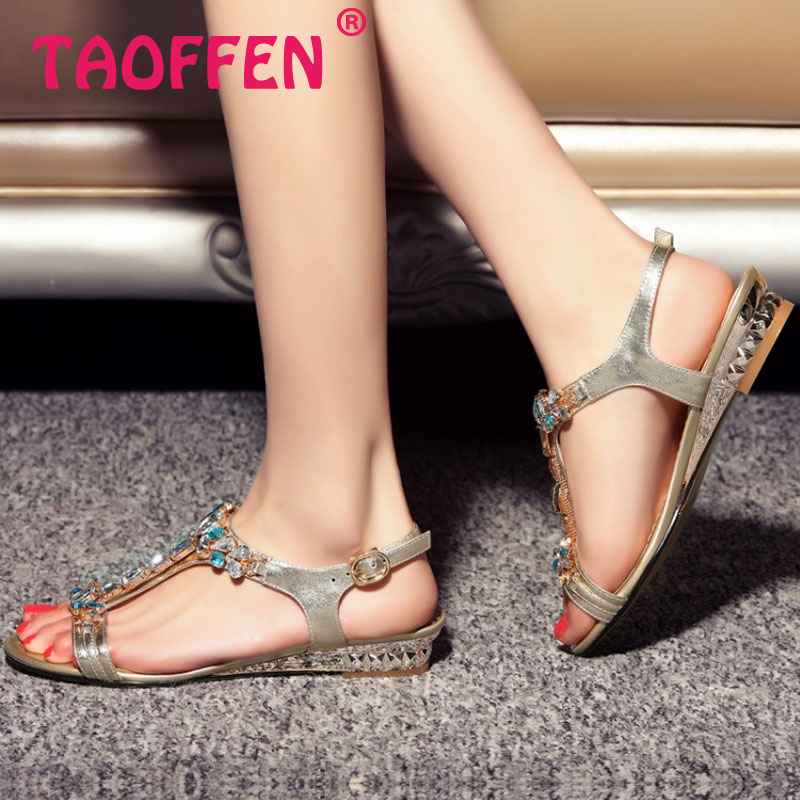 women real genuine leather bohemia slippers summer party flat sandals sexy fashion brand heeled ladies shoes size 34-39 R6794<br><br>Aliexpress