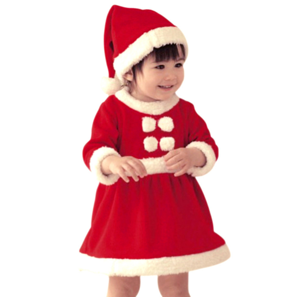 children christmas dress kid santa claus costume child christmas bodysuit baby red christmas gift girl clothes free shipping arjj - Red Christmas Dress
