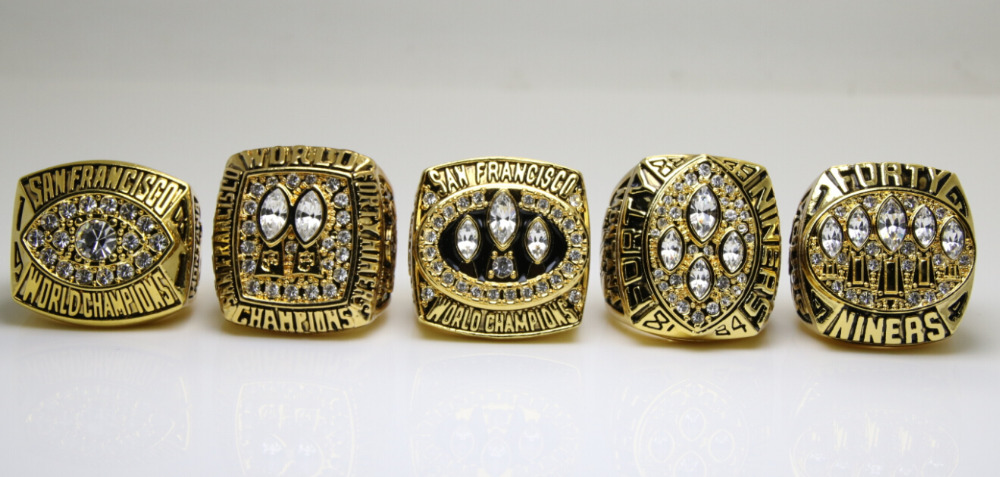 One Set 5 PCS 1981 1984 1988 1989 1994 San Francisco 49ers super bowl rings 11s All solid back Heavy ones(China (Mainland))