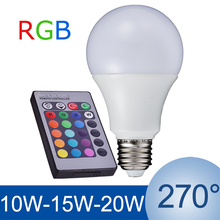New E27 RGB LED lampe 10 W 15 W 20 W ampoule LED RGB lampe 110 V 220 V télécommande 16 changement de couleur Lampada LED Luz A65 A70 A80(China (Mainland))