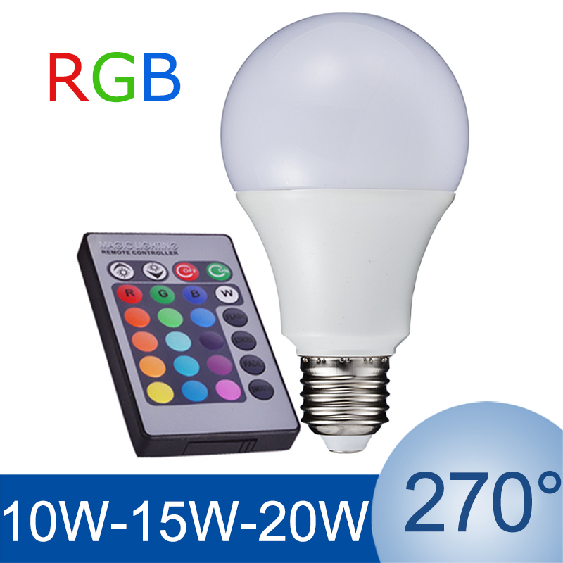 NEW E27 RGB LED Lamp 10W 15W 20W LED RGB Bulb Light Lamp 110V 220V Remote Control 16 Color Change Lampada LED Luz A65 A70 A80(China (Mainland))