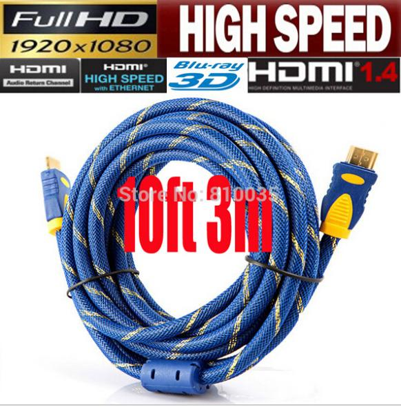 2016 News high speed v1.4 hdmi cable cabo hdmi 3m 10ft full HD1080p,3D&blue ray supported hdmi cable available in 1M,1.5M,3M,5M(China (Mainland))