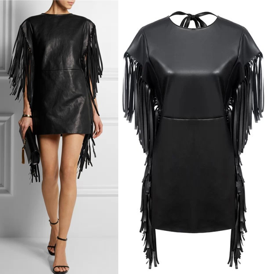 2015 Spring Summer New Arrival Women PU Leather Tassel Dress Sexy Black Hot Dresses Plus Size(China (Mainland))
