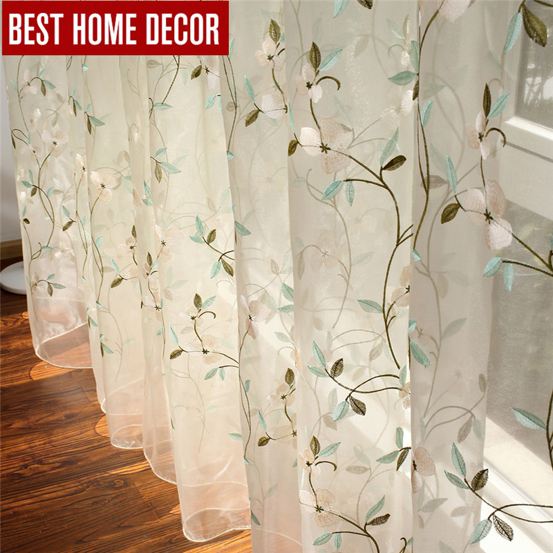 BHD embroidered floral tulle curtain for window curtains for living room the bedroom pastoral tulle curtains fabric drapes(China (Mainland))