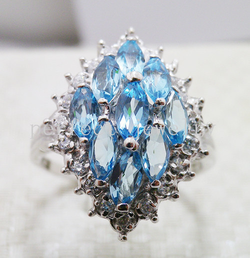 Blue topaz ring Free shipping Rings Natural blue topaz ring 925 sterling silver Manufacturer Wholesales Blue gems(China (Mainland))