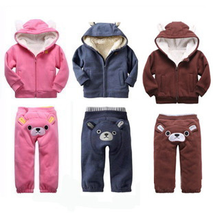 Little bear PP pants upset winter new children suit baby clothing G * AP the lambs wool suit boys and girls pink blue 18 m - 3 t(China (Mainland))