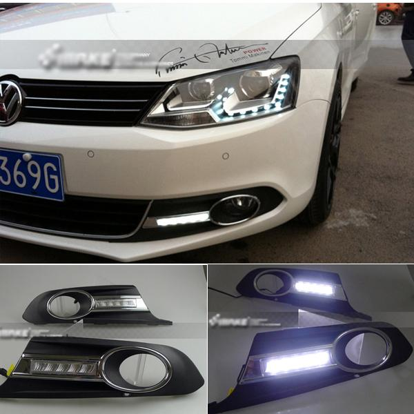 For VW Volkswagen Jetta MK6 11-2013 2x White LED Daytime Day Fog Light Lamp DRL(China (Mainland))