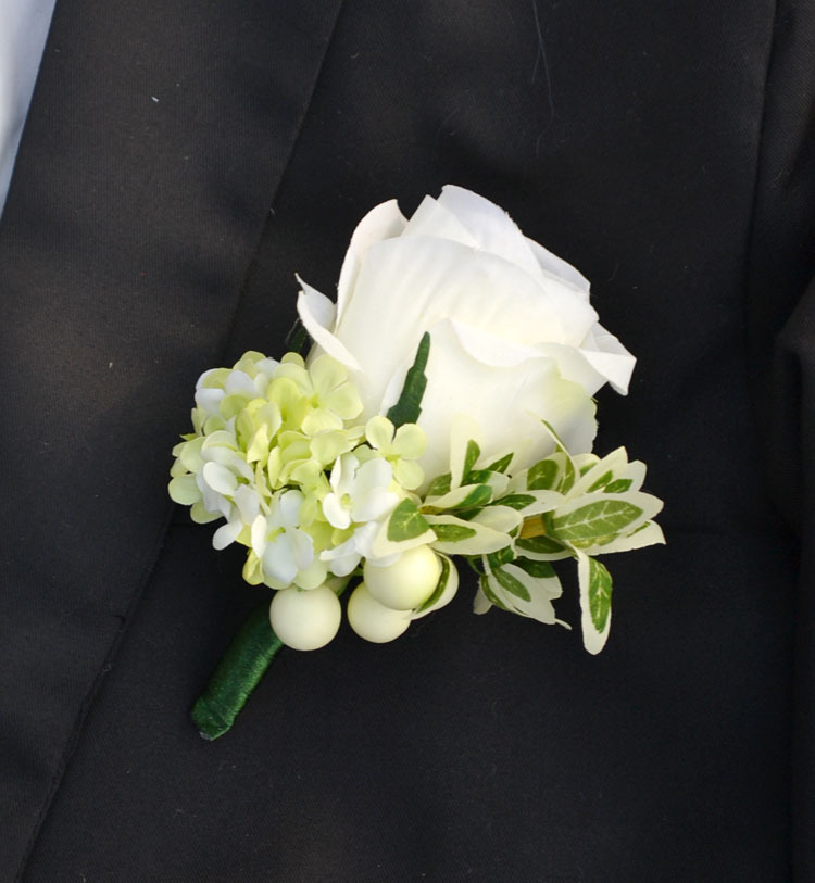 silk white rose best man groom boutonniere artificial. Black Bedroom Furniture Sets. Home Design Ideas