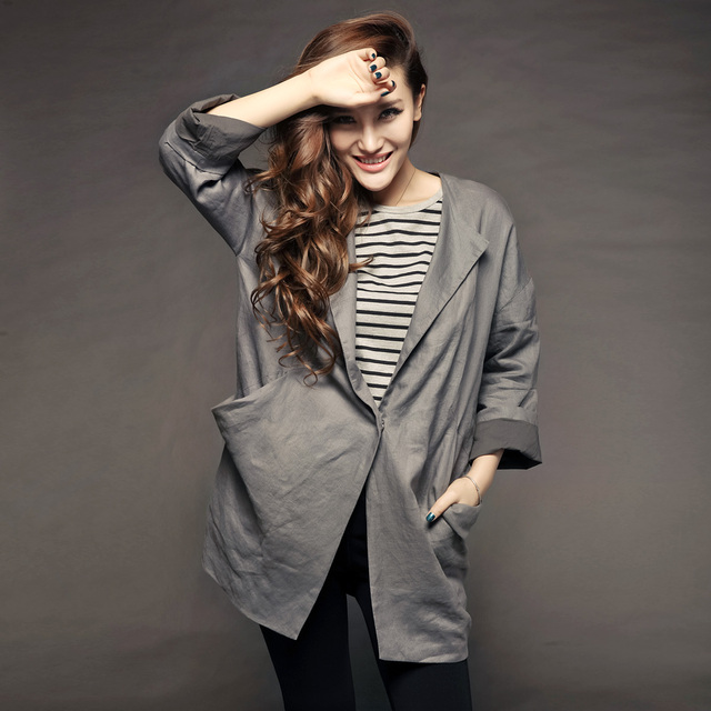 Fashion autumn fashion handsome V-neck pure linen top female outerwear