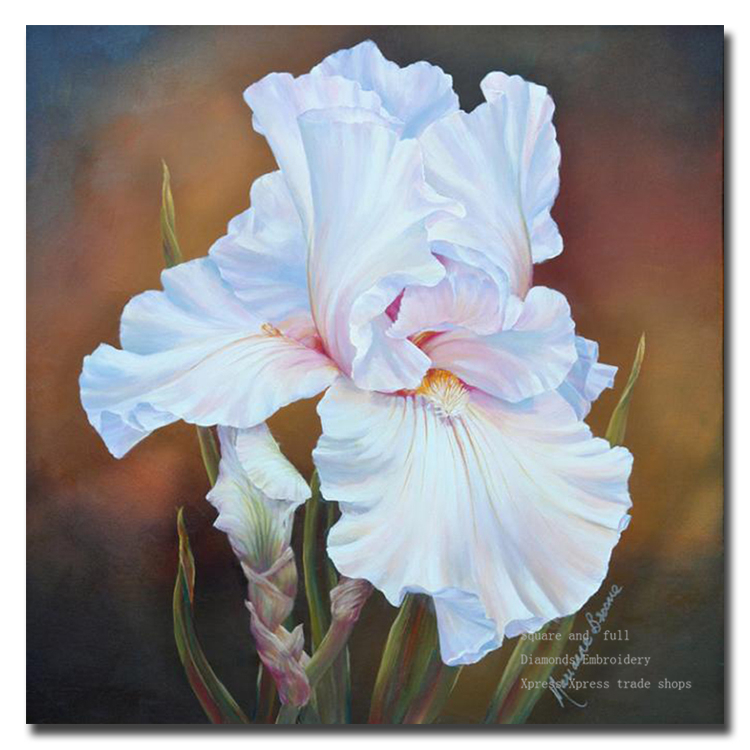 5D diy diamond painting pasted painting square drill fashion wall stickers home decor Painters white flowers free shipping(China (Mainland))