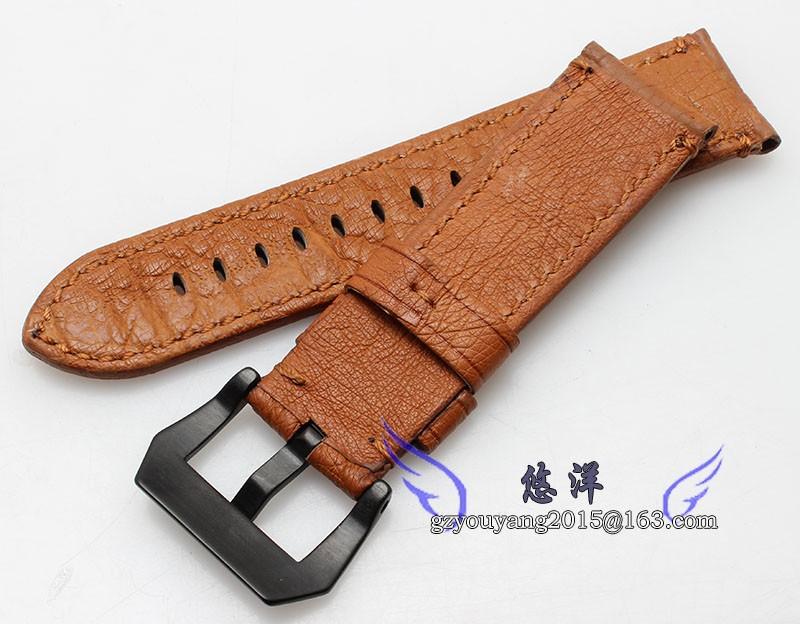 Страуса кожаный ремешок браслет мужской адаптер PAM111   24 мм черный