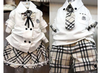 2015 New  Preppy Style School Children's Clothing Sets Student Boys & Girls Plaid Outfit  Tracksuit summer clothes suit