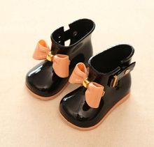 La MaxPa çocuk çizmeleri Bebek Kız Jöle Sevimli Ilmek yağmur ayakkabıları Kırmızı/Pembe/Siyah Su Geçirmez Yumuşak bileğe kadar bot Çocuk PVC ayakkabılar(China)