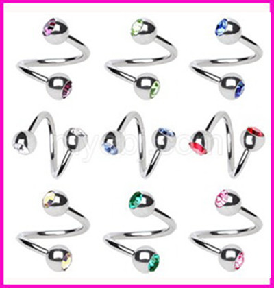Free Shipping wholesales 100pcs/lot mix 8 colors 16G Ball Circulars Horseshoes Eyebrow Nose twist rings body piercing jewelry<br><br>Aliexpress