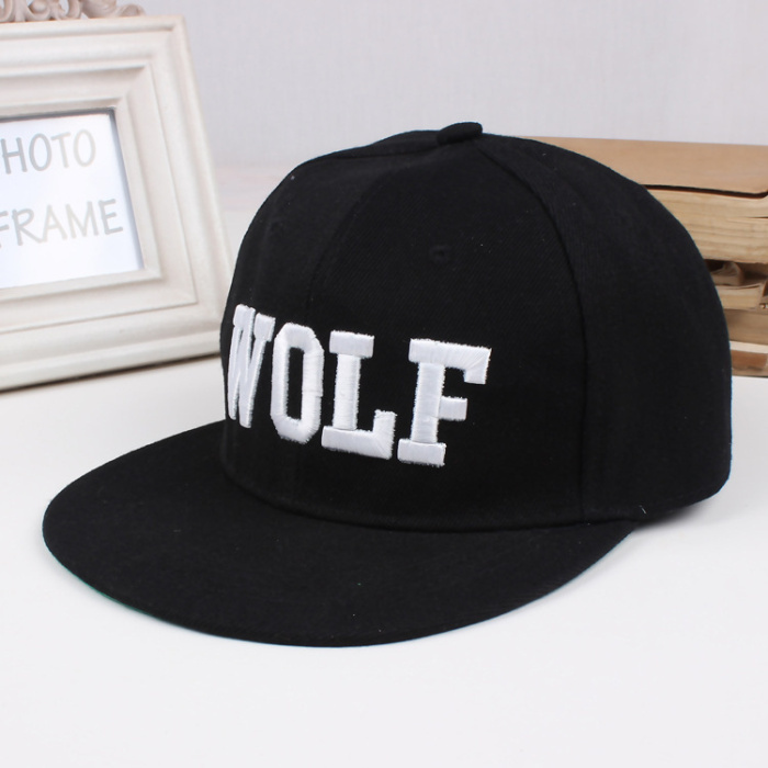 LL162 Letter WOLF print embroidered black cotton Summer Baseball Caps for Women Men Outdoor flat peaked cap(China (Mainland))