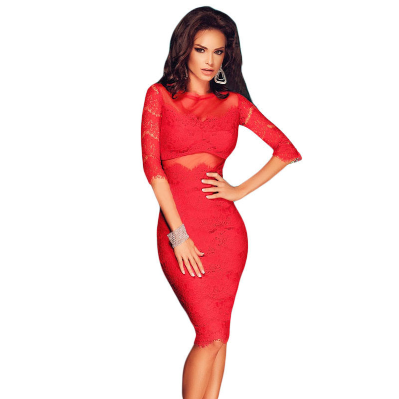 Red Cutout Back Lace Mesh Midi Dress LC60707Одежда и ак�е��уары<br><br><br>Aliexpress