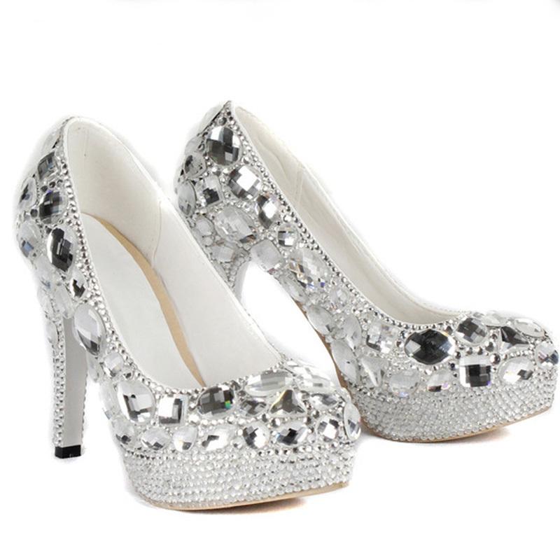 luxurious evening shoes silver platform shoes