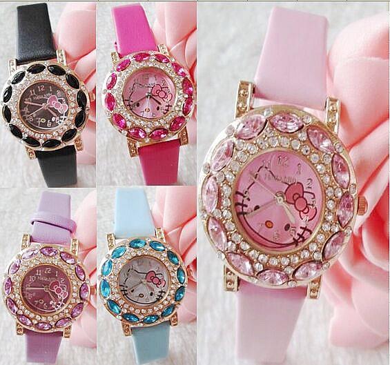 Гаджет  Hello Kitty Famous Brand Women Watches Quartz Cartoon Big Diamond Clock 2015 New Fashion Style Wristwatches Free Shipping None Часы