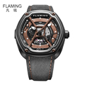 FLAMING Dietrich Series Newest Organic Time OT 7 Watches Men Luxury Automaitic Movement Wristwatch with Black
