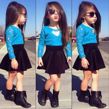 2015 New Kids Baby Girls Long Sleeve Lace Tops + Skirt Clothes Set 2pcs Set Outfits Free shipping(China (Mainland))