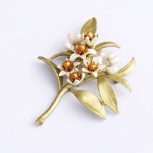 Timeless Wonder gorgeous enamel orange blossom flower pearl Brooch Pins Party sassy wedding gown coat stunning gift SALE 5421(China (Mainland))