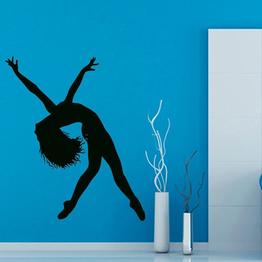 Ballet Sticker Dance Decal Danse Posters Skiing Wall Decals Parede Decor Mural 19 Color Choose Ballet Sticker(China (Mainland))