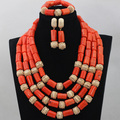African Nigerian New 4 Rows Orange Add Gold Ball Coral Beads Party Jewelry Set Costume Jewelry