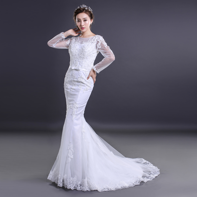 Real Photos White Mermaid Wedding Dresses 2015 Tulle Wedding Gowns Lace Vestido De Noiva Long Sleeves Wedding Dress with Bow(China (Mainland))