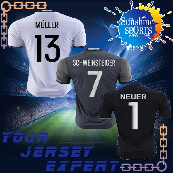 MULLER Home white Away gray 2016 soccer jersey SCHWEINSTEIGER OZIL REUS KROOS 16 17 Black goalkeeper NEUER football(China (Mainland))