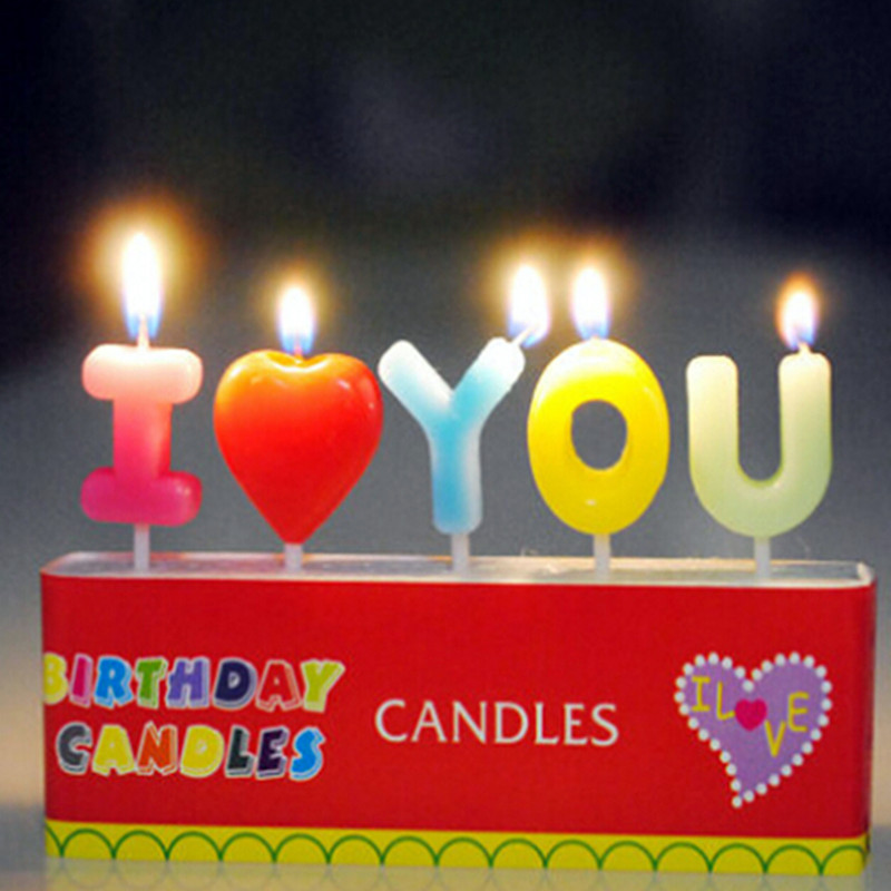 I Love You Scented Candles Cake Decoration Small Birthday Candles Home Decor Party Supplies