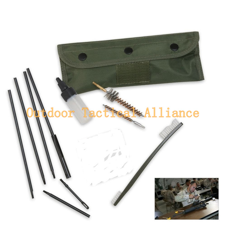 10 Pcs Tactical AR15 M16 Gun Cleaning Kit Set Army Military Police Hunting Gunsmith Universal Gun Rifle Cleaning Tool Kit Bag(China (Mainland))