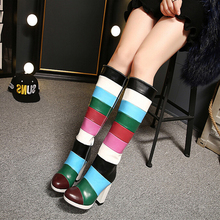 2016 Boots Woman Rainbow Striped Women Knee High Boots Square Heels High Heels Shoes Mixed Colors Winter Boots Ladies Botas