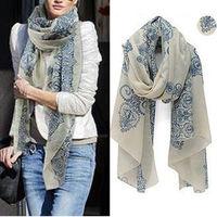2014 160*70 cm di alta qualità blu e bianco porcellana stile sezione sottile della seta floss donne sciarpa scialle # L033511