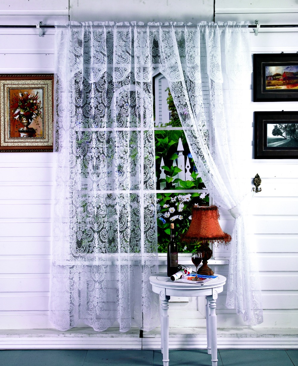 Home decor lace curtains with valance 2pieces 110x213cm for Lace home decor