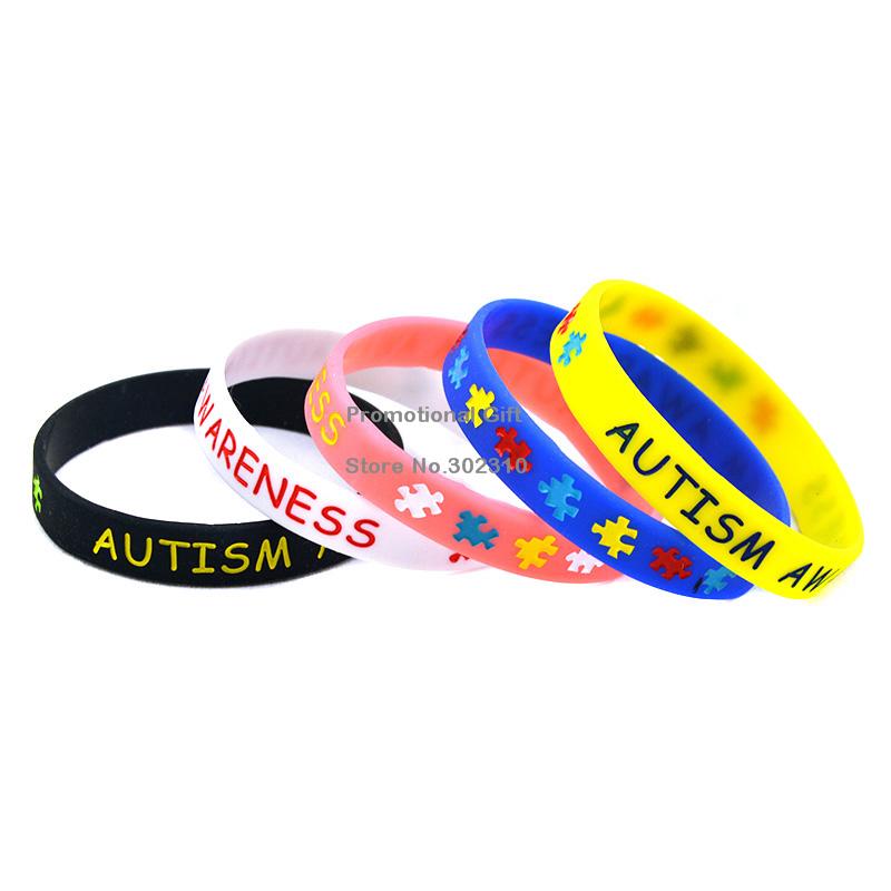 1PC Autism Awareness Puzzle Silicone Wristband Bracelet 2 Sizes Available(China (Mainland))