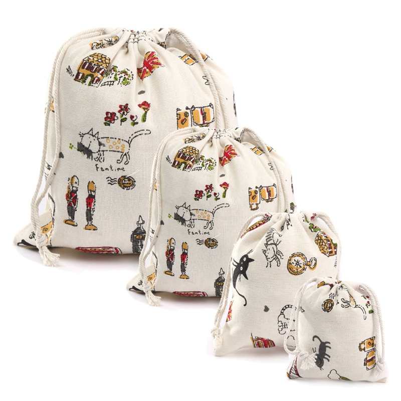 New Cartoon Cat- Style Small Handbag Pouch Cotton Linen Drawstring Sack Storage Bag Beam Rope Repellent Packing Pouches(China (Mainland))