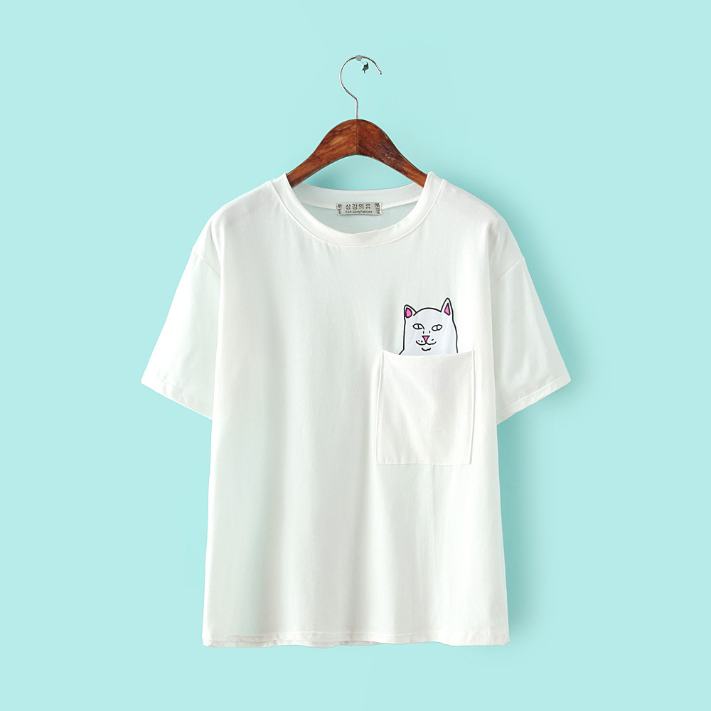 summer round neck cartoon cat cheap single pocket t shirt