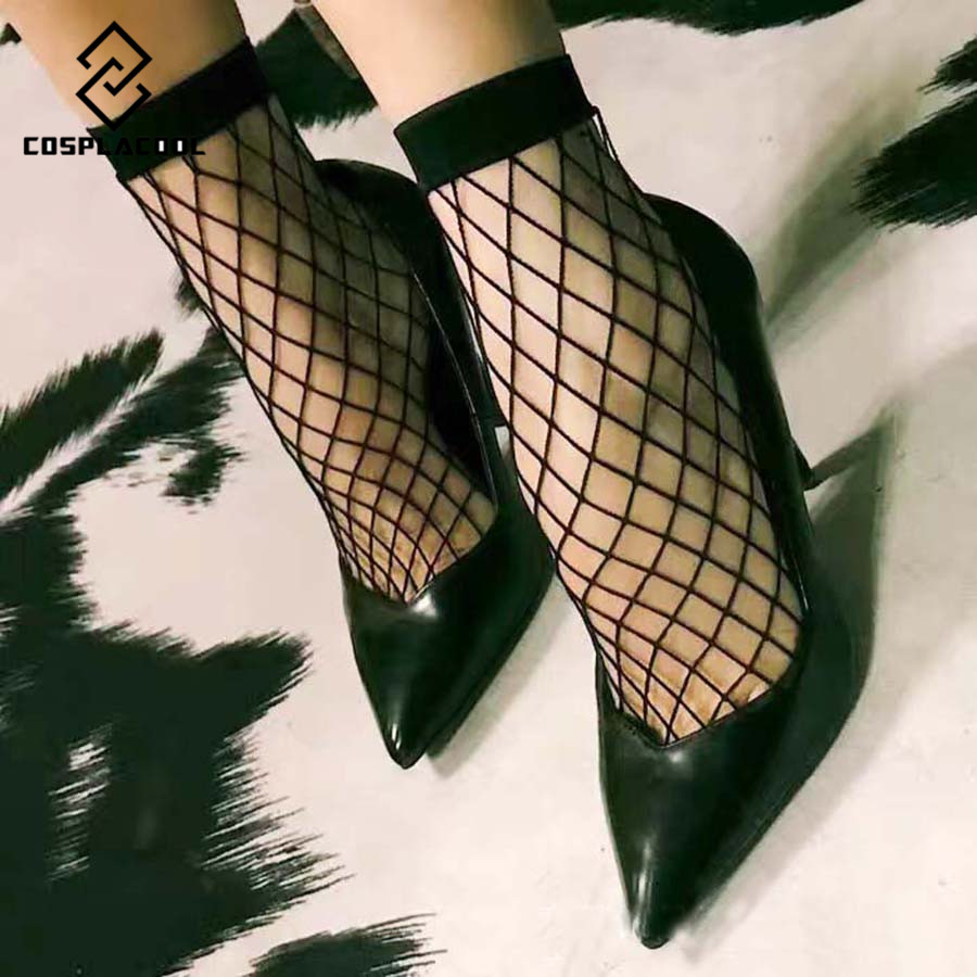 [COSPLACOOL]New Europe fashionable 1 Pair Dress Black Sexy Fishnet Socks Women/Ladies Lace Sox Students Meias calcetines(China (Mainland))