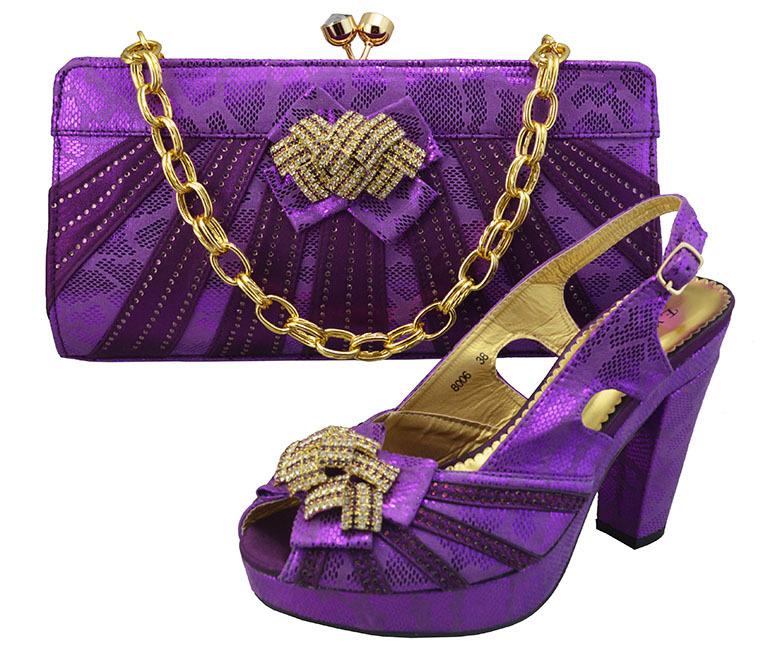 BS43,Nice-looking African fashion shoes and matching bags set,with plenty stone in purple color Italy shoes and bags size38-42(China (Mainland))