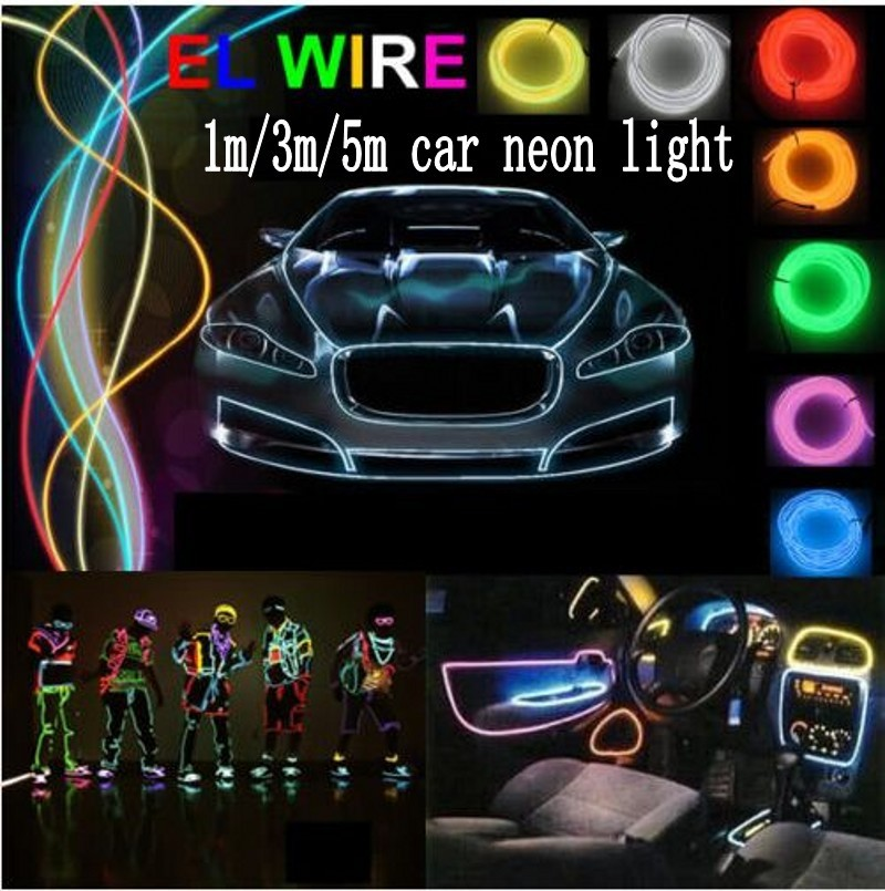 1m 3m 5m flexible led neon light car el wire glow rope - Neon led 12v ...