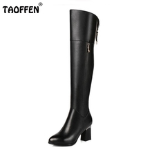 Buy Women Genuine Real Leather Knee Boots Winter Boots Sexy High Heel Fashion Round Toe Zipper Women Boots Shoes Size 33-42 for $57.74 in AliExpress store